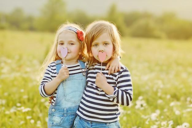 夏の畑で棒に心を持つ2つの小さな友達