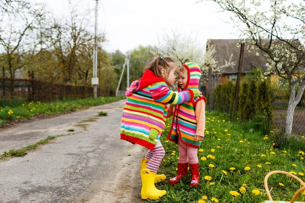 Two little girls in bright clothes hug each other among the yellow dandelions. happy childhood.
