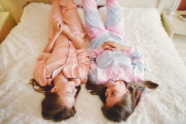 Two little girls in a cute pajamas