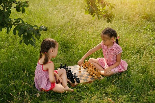 木の下の自然の公園で2人の少女がチェスをする