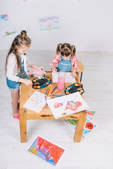 Two little girls painting with aquarelle on paper at table