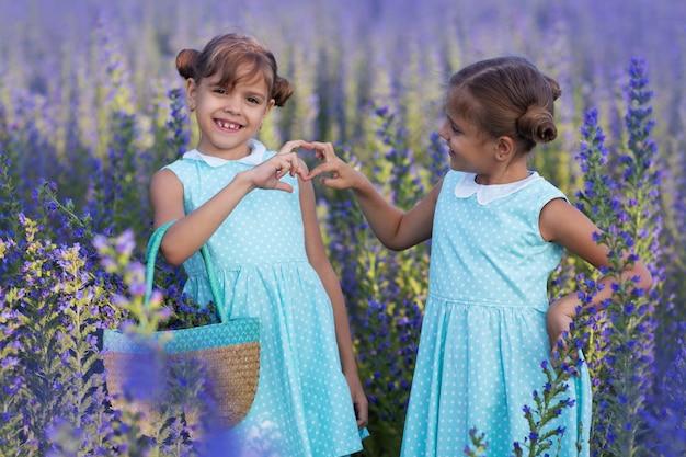 花のフィールドで遊ぶ二人の少女