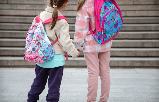 背中に美しいバックパックを背負った二人の少女が手をつないで一緒に学校に行きます。子供の頃の友情の概念。