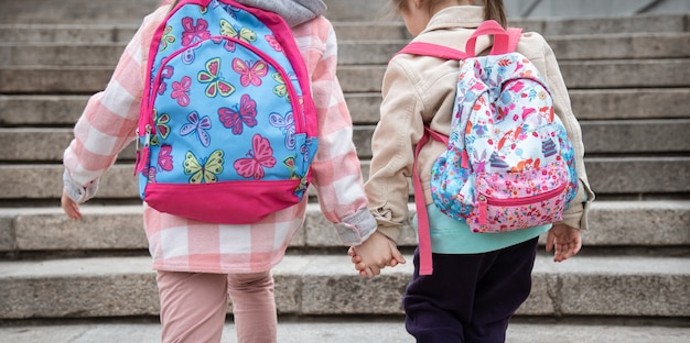 Two little girls with beautiful backpacks on their backs go to school together hand in hand. childhood friendship concept.