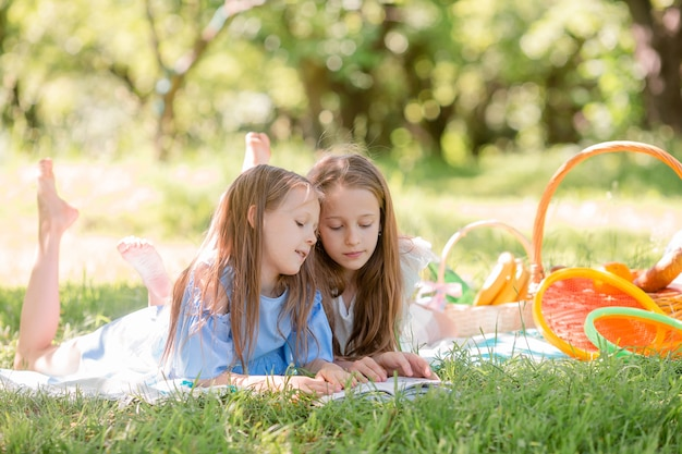 Two little kids on picnic in the park