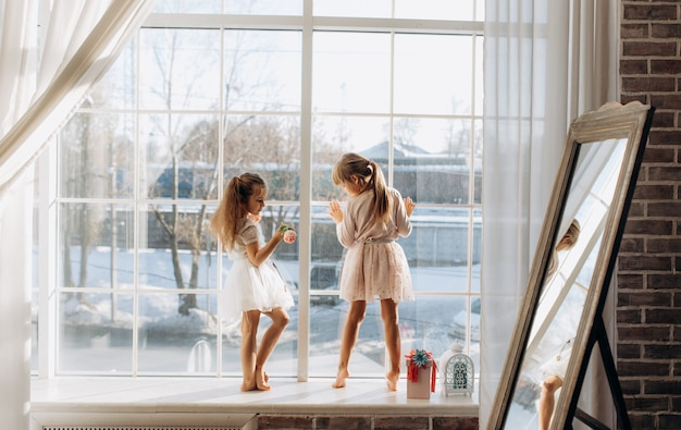 美しいドレスを着た二人の妹が、冬の外の鏡の隣の窓辺に立っています。
