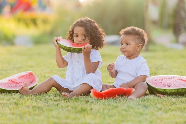 곱슬 머리를 가진 두 명의 작은 거무스름한 소녀 두 자매가 공원에서 잔디 피크닉에서 수박을 먹고 있다