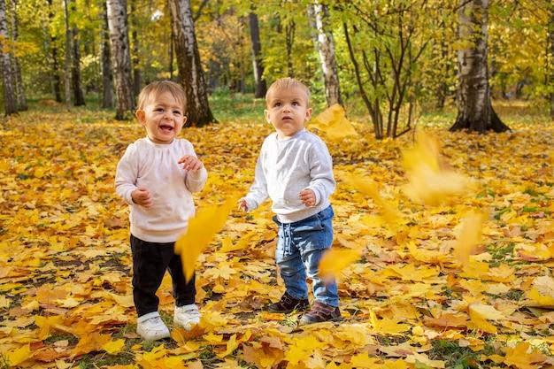 두 어린 유아는 떨어지는 단풍 아래에서 웃는다. 가 공원에서 사랑스러운 아이입니다. 황금빛 가을
