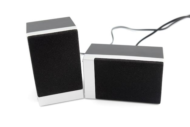 두 개의 확성기 상자 흰색 배경에 고립입니다.