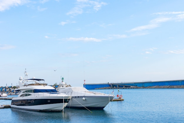 Two luxury yachts parked at dock