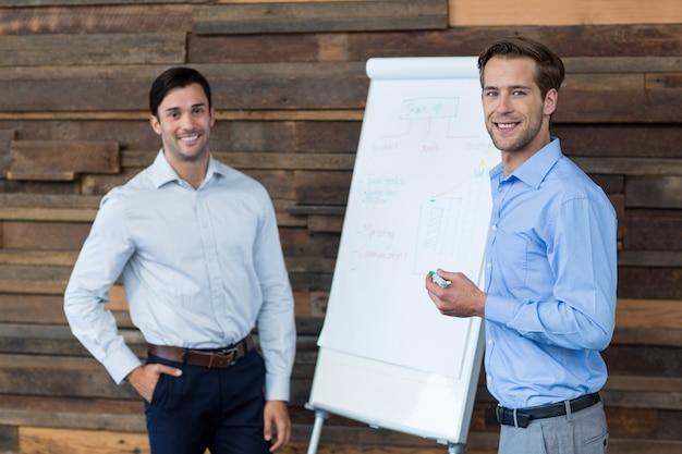 Два мужских руководителей бизнеса на встрече стоя перед флип-чарт