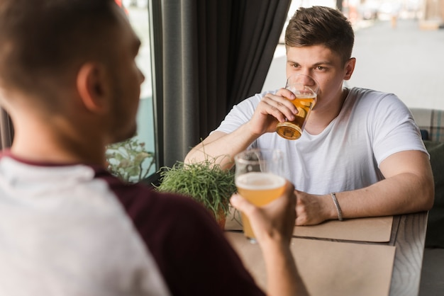 Two male friends drinking beer in glasses