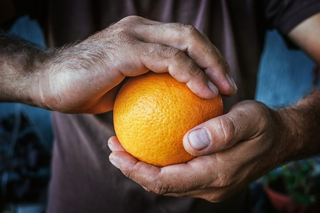 2つの男性の手がオレンジを持っています。