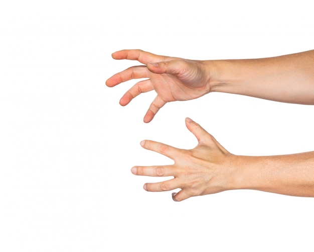 Two male hands reaching out to grab something, white background