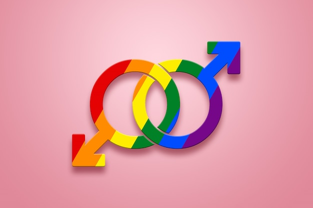 Two male signs are painted in lgbt colors on a pink