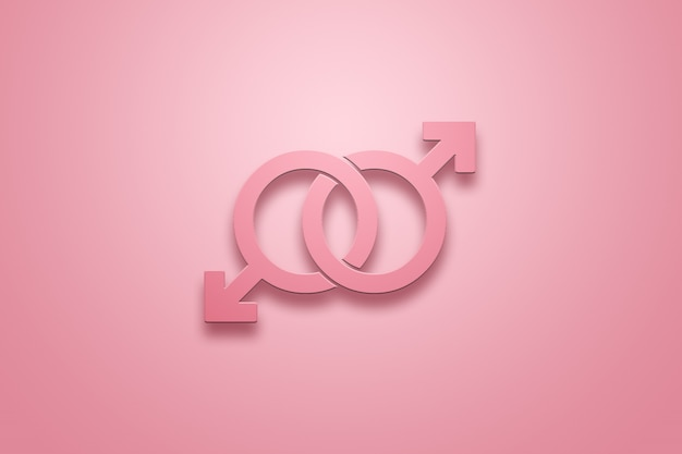 Two male signs are pink in pink on a pink. the concept of same-sex relationships