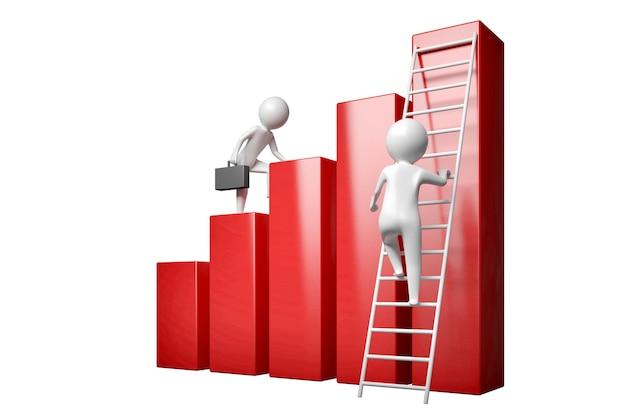 두 사람 중 한 사람은 경력 사다리를 따라 노를 저어 계단을 오르고 두 번째 사람은 즉시 가장 높은 계단을 올라가려고 합니다. 3d 그림