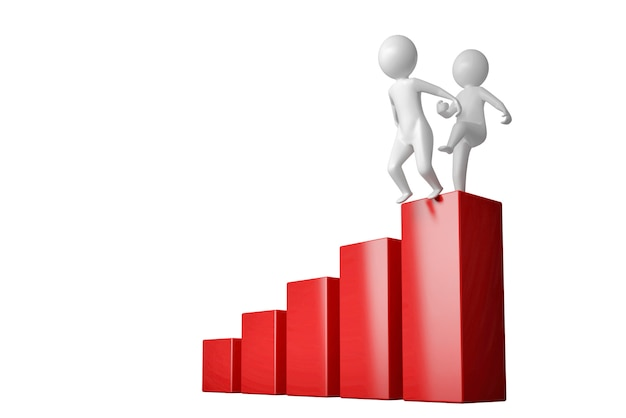 Two man one of which confronts the other with the top of the career ladder. 3d illustration