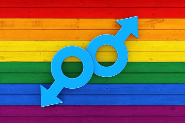 Два мужских символа марса над деревенской старой выдержанной деревянной текстурой фона доски в цветах крайнего крупного плана флага гордости лгбт. 3d рендеринг