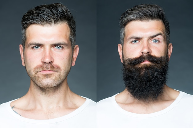 Two merged images of one man