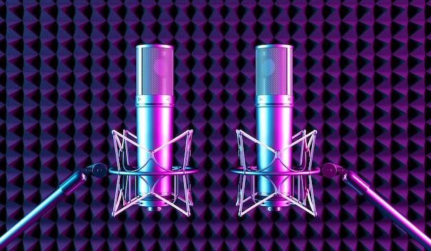 Два микрофона в неоновом свете, 3d иллюстрация