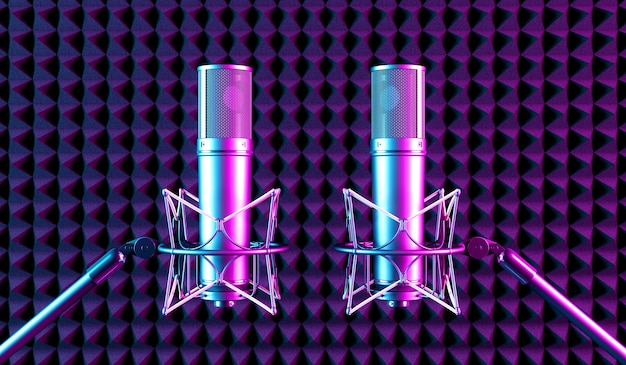 Two microphones in neon light, 3d illustration