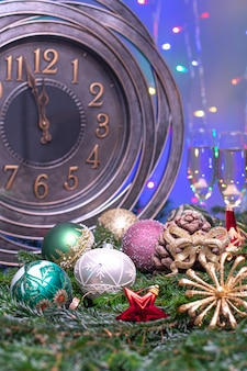 Two minutes till midnight .large clock counting last moments before christmass or new year