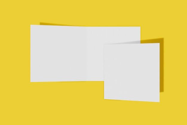 두 이랑 사각형 책자, 브로셔, 하드 커버와 현실적인 그림자와 노란색 배경에 고립 된 초대. 3d 렌더링.