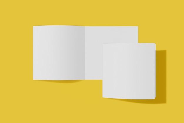 두 이랑 사각형 책자, 브로셔, 소프트 커버와 현실적인 그림자와 노란색 배경에 고립 된 초대. 3d 렌더링.