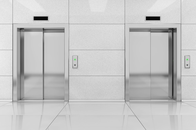 Two modern elevator or lift with metal doors in office building extreme closeup. 3d rendering