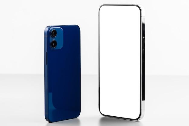 두 개의 현대 휴대 전화 모형 앞면과 뒷면 회색