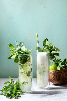 Two mojito cocktails