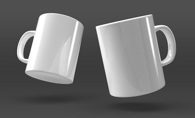 黒の背景に2つのマグカップ