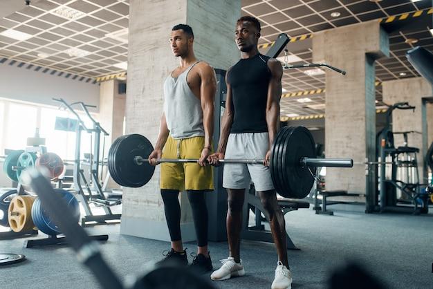 2つの筋肉質の男性は、ジムでのトレーニングで重いバーベルでポーズします。
