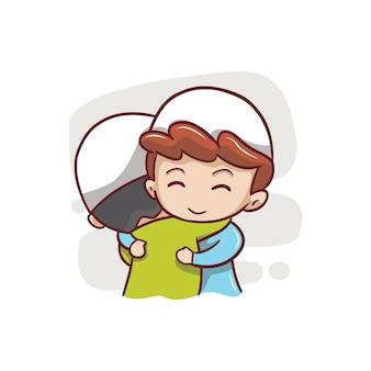 2人のイスラム教徒の子供が抱き締める