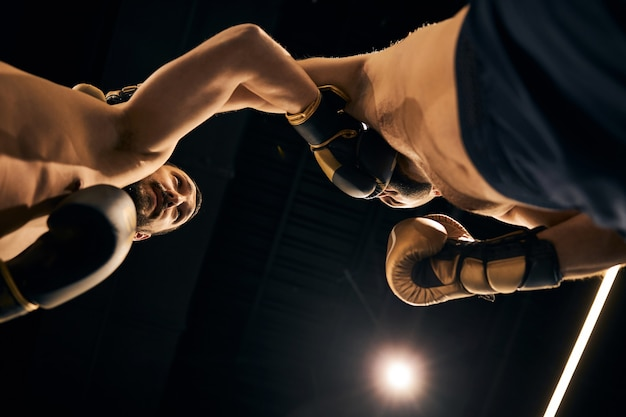 Two naked sparring partners striking each other with their fists in boxing gloves