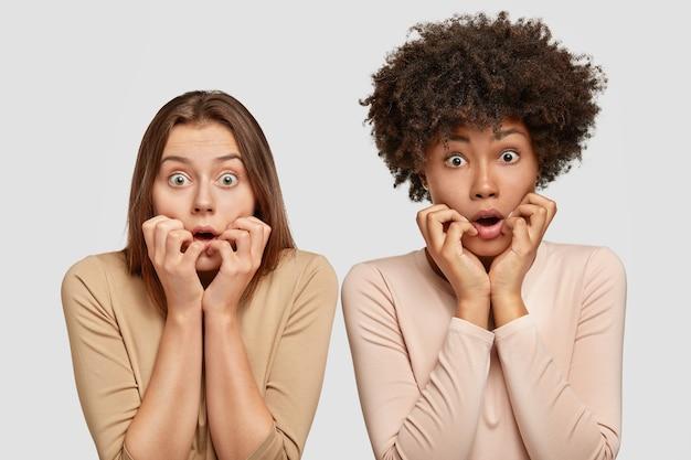 2人の神経質な混血の女性は心配そうに見え、驚きと恐怖を感じ、開いた口の近くに手を保ち、虫の目で見つめ、白い壁に向かってポーズをとります。否定的な感情の概念