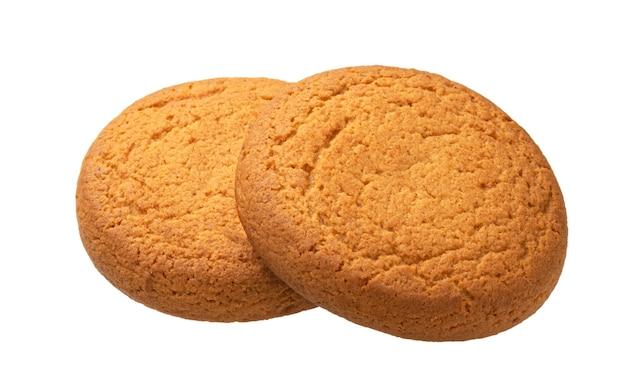 Два овсяных печенья, изолированные на белом фоне