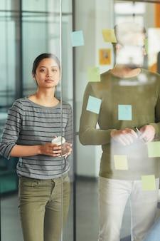 壁にリマインダーを置く2人のオフィスの同僚