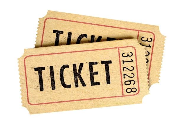 Two old vintage movie tickets isolated