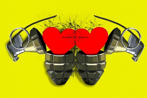 スコープ内に赤いハートが付いた2つのオープンコンバットグレネード。強い感情と愛の概念。明るい黄色の背景。バレンタイン・デー。