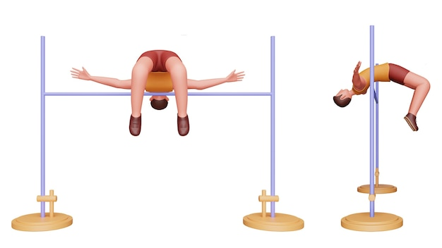 Two option of 3d male athletics performing high jump over white background.