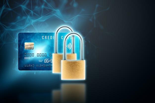 Two padlocks on a credit card