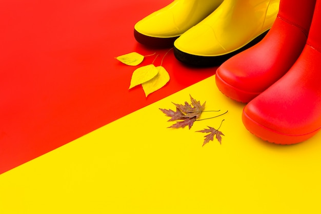 Two pairs of bright rubber boots-red and yellow are on a contrasting background and in front of them are autumn leaves.