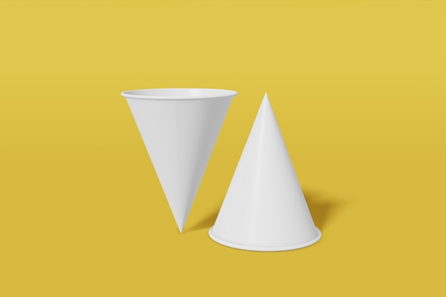 두 종이 컵 이랑 콘 노란색 배경에 모양. 컵 중 하나가 거꾸로되어 있습니다. 3d 렌더링