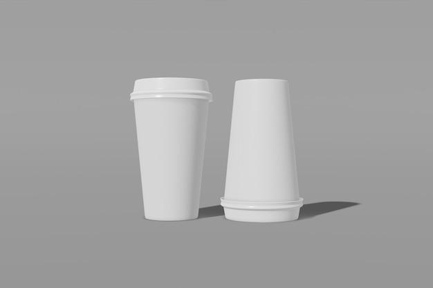 회색 배경에 뚜껑이있는 두 종이 컵 이랑. 컵 중 하나가 거꾸로되어 있습니다. 3d 렌더링