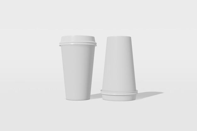 흰색 배경에 뚜껑이 두 종이 컵 이랑. 컵 중 하나가 거꾸로되어 있습니다. 3d 렌더링