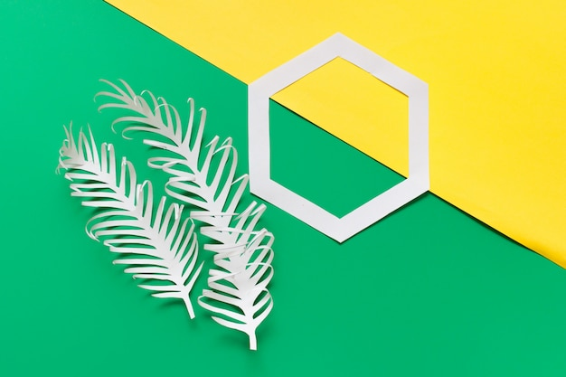 Two paper feathers and hexagon on yellow green