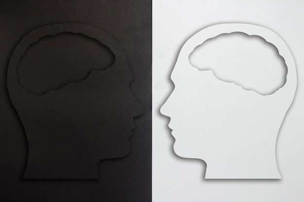 Two paper heads with a brain silhouette, black and white on a black and white background. the concept of a split personality, different opinions, dispute, war. flat lay, top view.