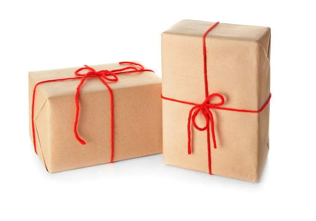 Two parcel gift boxes on white